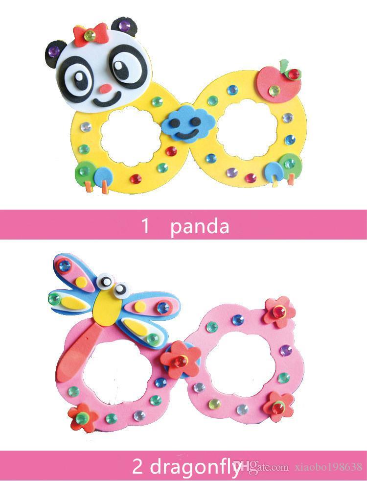 Karikatür Eva Köpük Sticker Gözlük DIY Zanaat Kiti Yaratıcı Anaokulu Çocuklar için Eğitici Oyuncaklar Doğum Günü Partisi