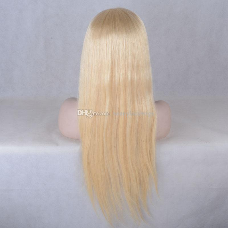 Cheap Weaving Blond Gluless # 613 Virgin Brazilian Straight Blond Hair Full Lace Wig For Black Women Human Hair Wigs With Baby Hair