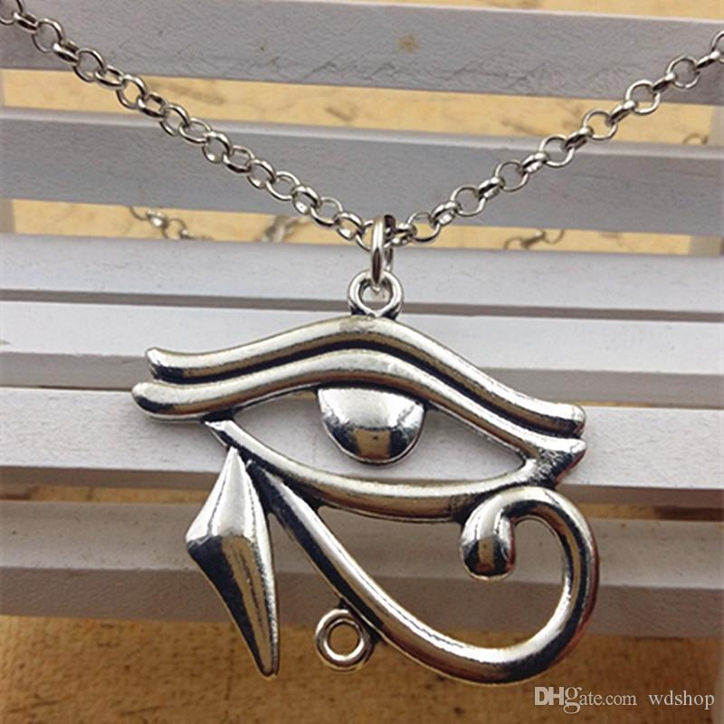 Wholesale-Vintage 18 Inch Gold Silver Egyptian Necklace Eye Of Horus Egyptian Jewelry With 37*40MM Hieroglyph Charm