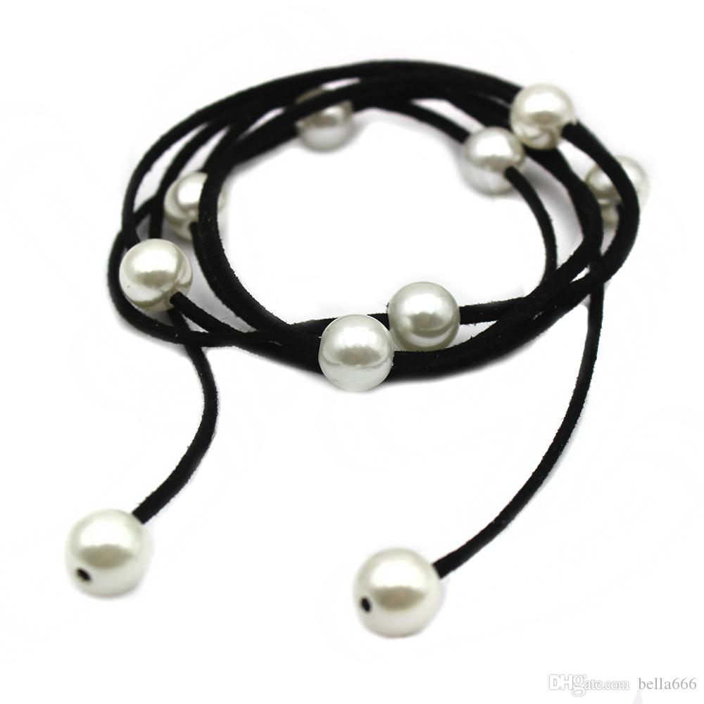 Baroque Pearl Leather Long Bracelet Necklace Women Casual Style DIY Charm Bijoux Summer Beach Bohemia Jewelry Armbanden Voor Vrouwen