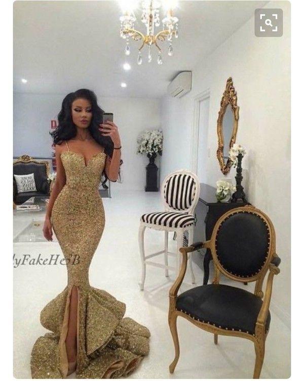 Новый дизайнер 2017 Русалка золотое платье для выпускного с кружевными разрезами и аппликациями с открытой спиной Блестки Вечерние платья Pageant Платья Bling Front