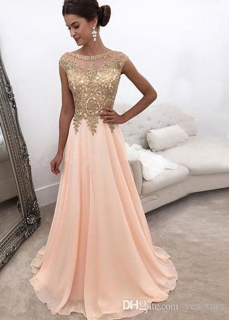 Großhandel 2017 Arabisch Rosa Prom Kleider Juwel Hals Illusion Cap ...