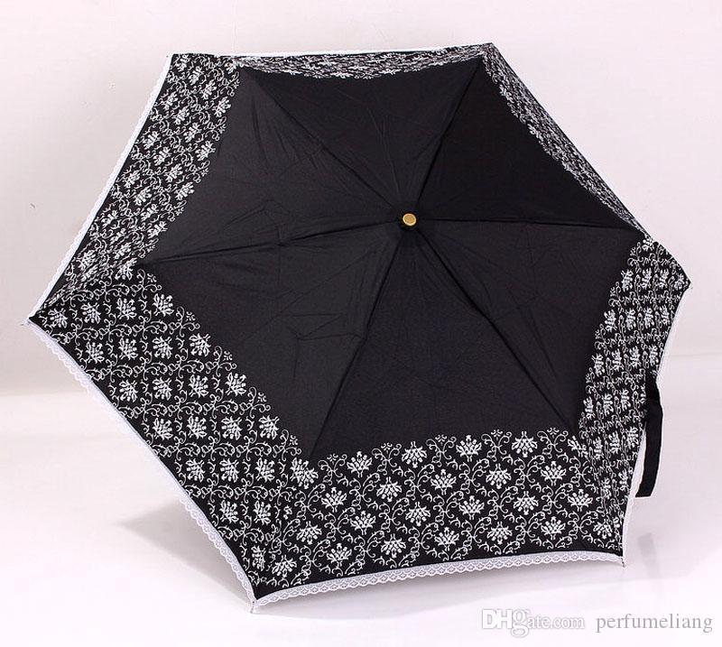 Mode Frauen Weiß Schwarz Spitzenschirm Ausgestellt Griff Guarda Chuva Sonnenschirm Sonnenschirm Regen Hochzeit Braut Regenschirm ZA3285