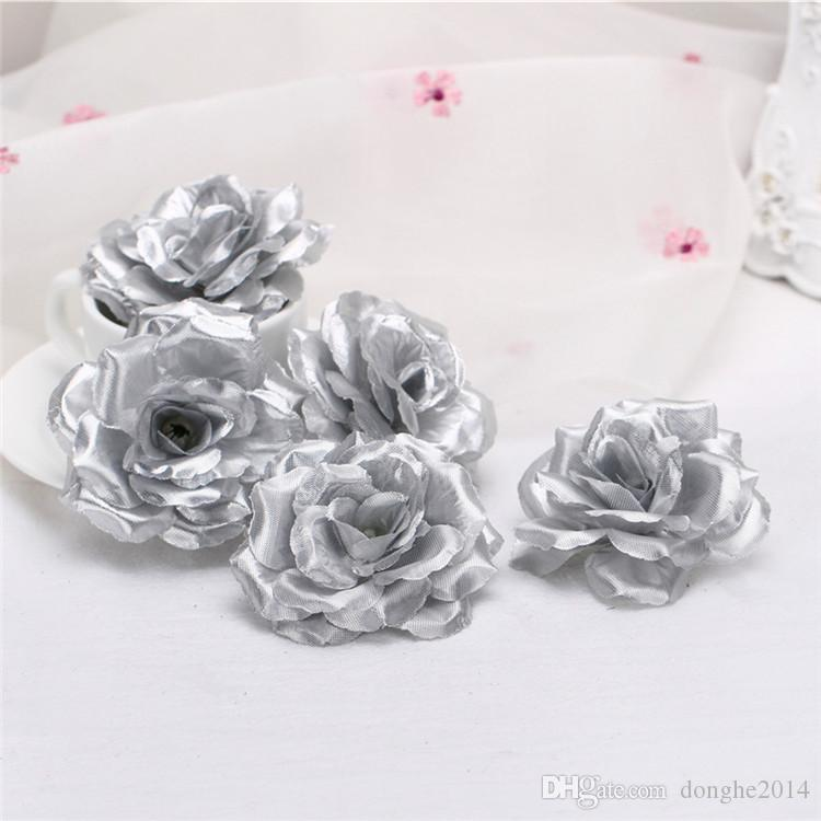 8cm Silk Rose Flower Heads Blue Black Rose Bud For Wedding Party Decorative Artificial Simulation Silk Peony Camellia Rose Flower