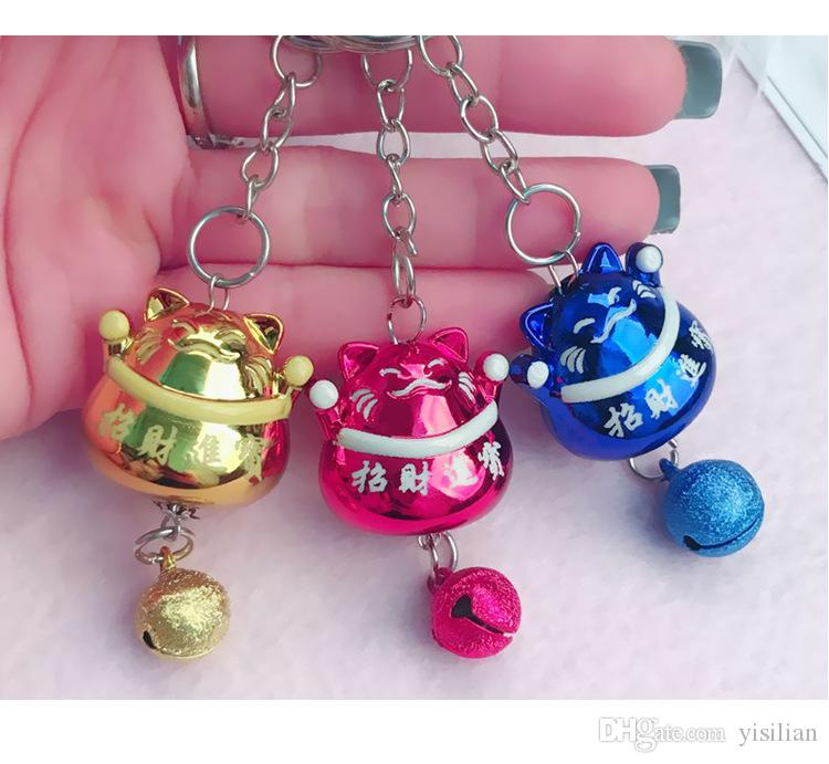 Fashion Lovely Lucky Cat Bell Car Keychain Men Ladies Bag Key Chain Pendant Phone Case Accessories R200 Arts and Crafts