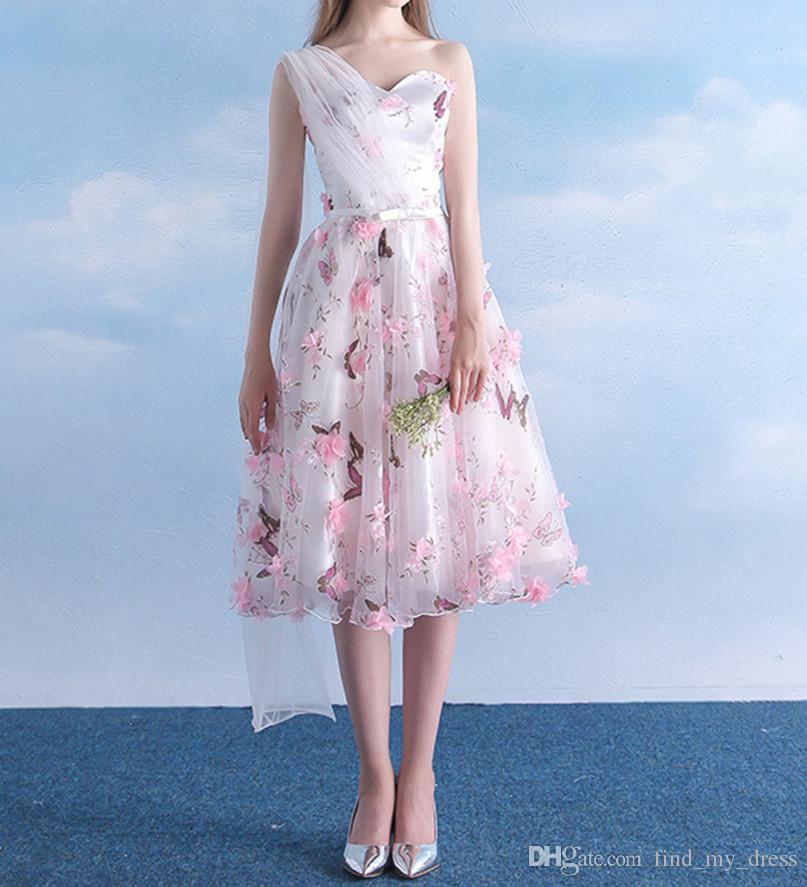 Современный 2019 Новый Органзы Одно Плечо Вечернее Платье Красочные Драпированные Линии Пояс Печатный Чай Длина Цветы Нестандартного Размера Цветочные Платья Homecoming