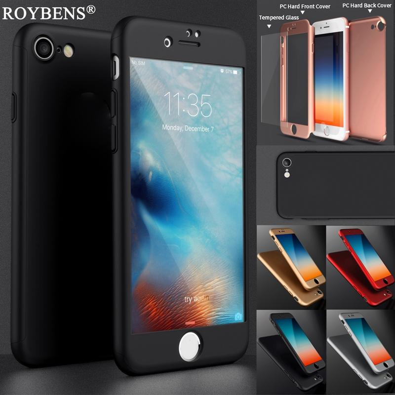 on sale a34c8 28a77 Roybens Luxury Hard PC Coverage of 360 Degree Case For iPhone 6s 6 plus 7  7plus Slim Mat Plastic Full Body Cover Glass Screen Protector