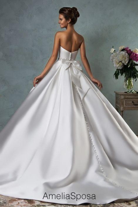 2018 Wedding Dress Amelia Sposa Lace Ball Gown Wedding Dresses Bridal Gowns Vestido De Novia Satin Backless Crystal Waistband Bow Sweetheart