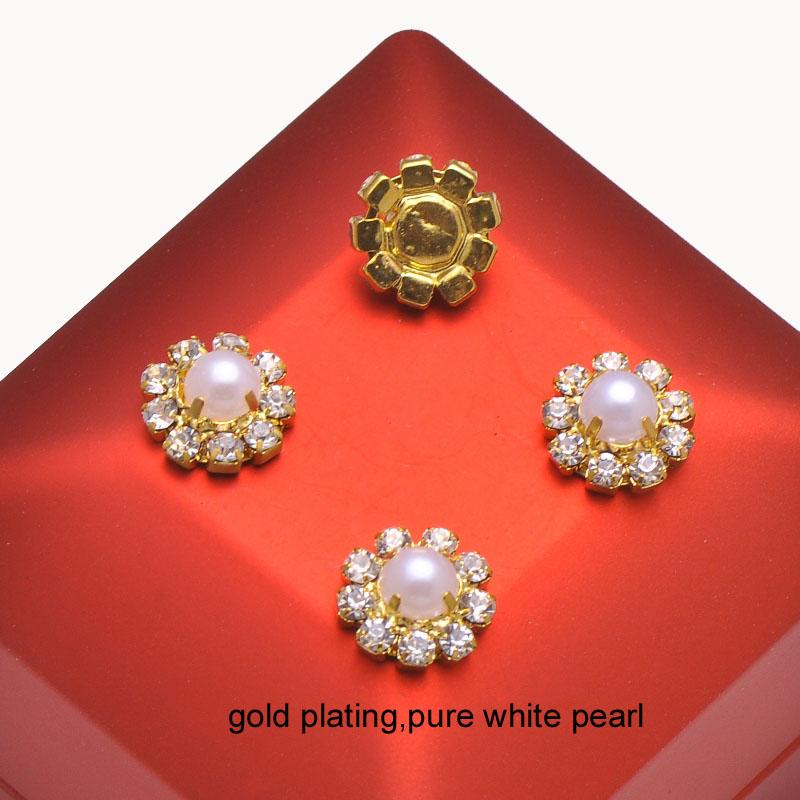 L0019P wholesalegeben Verschiffen 12mm runde Rhinestoneverschönerung, halbe Perle in der Mitte, im Elfenbein oder in der reinen weißen Perle frei
