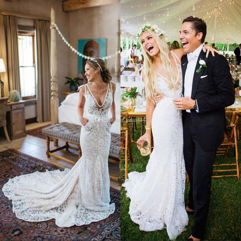 2018 vintage mermaid wedding dresses summer casual sexy for Vintage summer wedding dresses