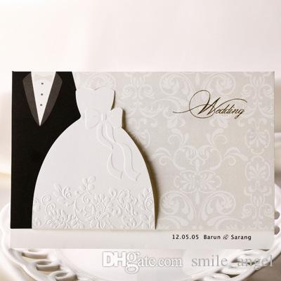 2018 hot sale wedding invitation cards wishmade bridal and groom pattern suit design wedding party cards unique wedding invites cards custom invitations