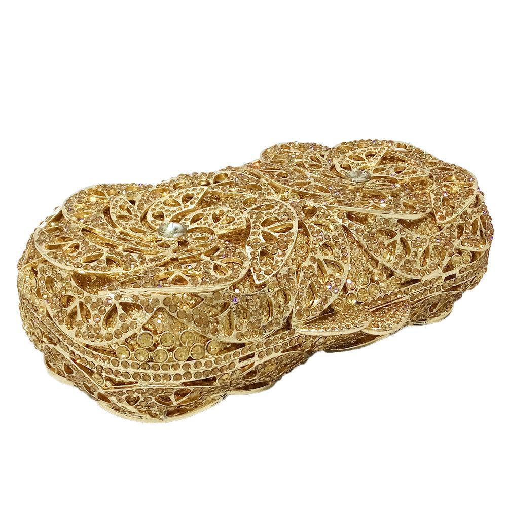 Socialite Gold Diamond Women Clutches Handbags Evening Cocktail Metal Chains Shoulder Bags Wedding Bridal Box Crystal Clutch Bag