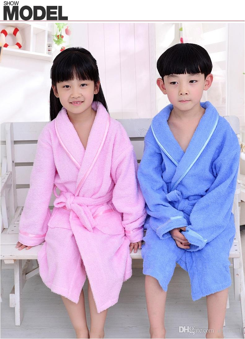 863acf8d17 2019 Cotton Towe Fabric Children Bathrobe Soft Warm Baby Girls Boys Kids  Night Bath Robe Blue Pink Bathrobe Sleepwear Homewear Pajamas Clothing From  Dytowel ...