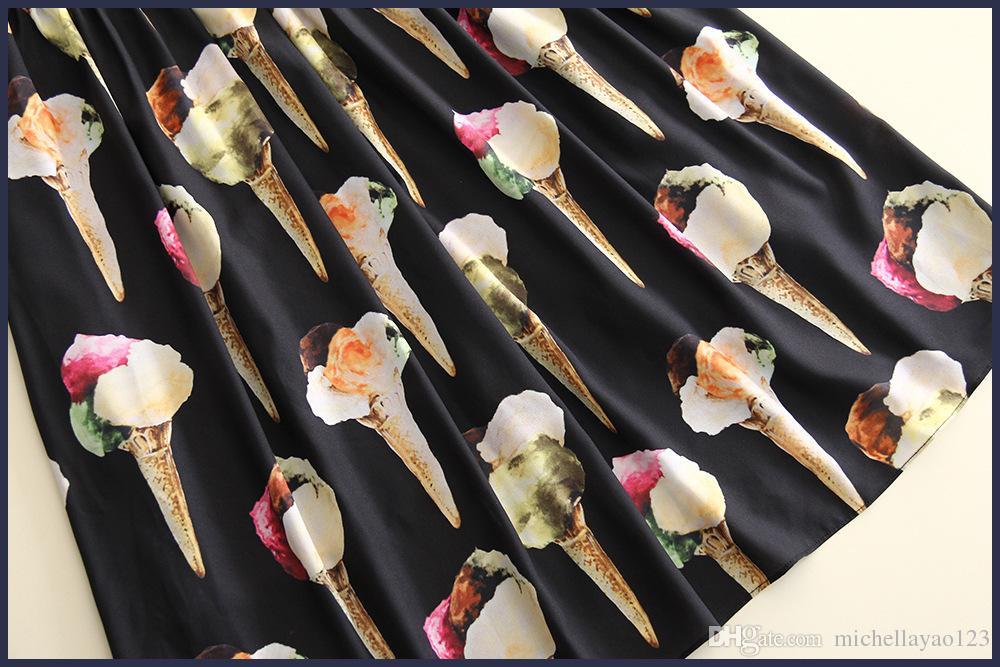 ВПП Платья 2017 Черный/Белый Мороженое Печати С Коротким Рукавом Линии Платье Женщины Мода Vestidos Де Фиеста D061739