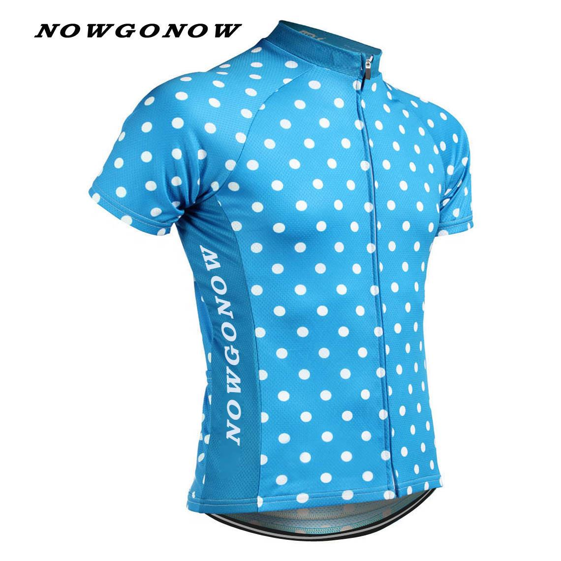 Man 2017 cycling jersey team blue Dots race bike mtb road ropa maillot ciclismo wear clothing riding racing NOWGONOW usa Brand