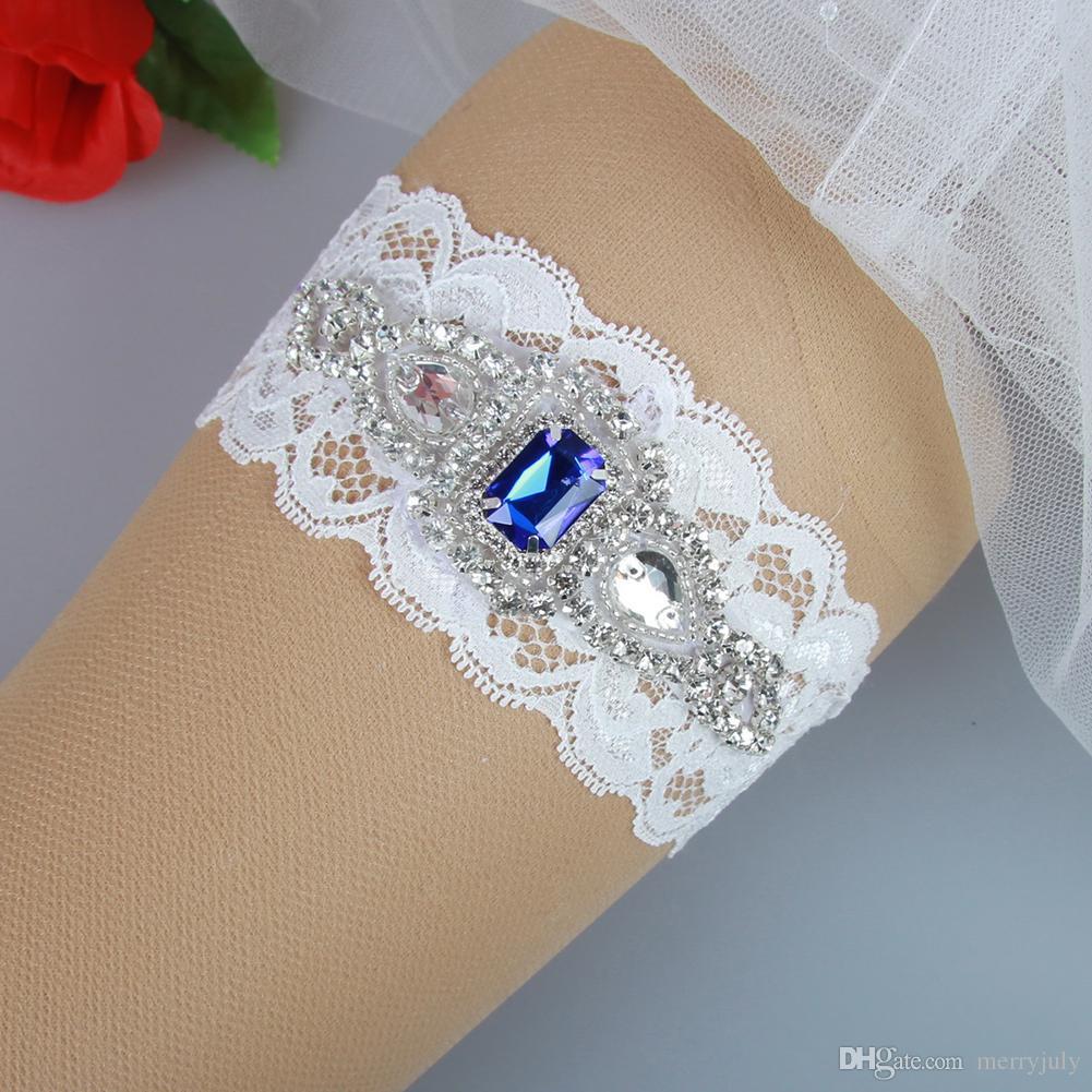 Where To Buy A Garter For Wedding: Wedding Bridal Garter With Royal Blue Rhinestones Bridal
