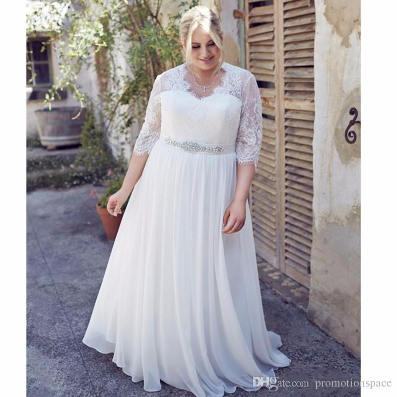 Discount Custom Made Plus Size Wedding Dresses 2016 A Line V Neck ...