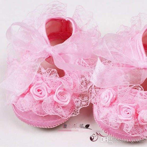Baby Girl Shoes Primi camminatori Neonate Toddler Lace Flower Princess Shoes Soft Sole antiscivolo Presepe