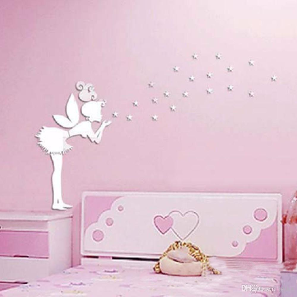 Angel Magic Fairy Stars 3D Specchio Wall Sticker Camera da letto bambini Decorazione regalo creativo Adesivo murale bambina