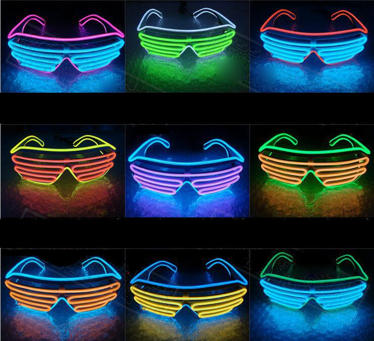 El Wire Led Double Color Blinds Glowing Glasses Led Dj Flashing ...