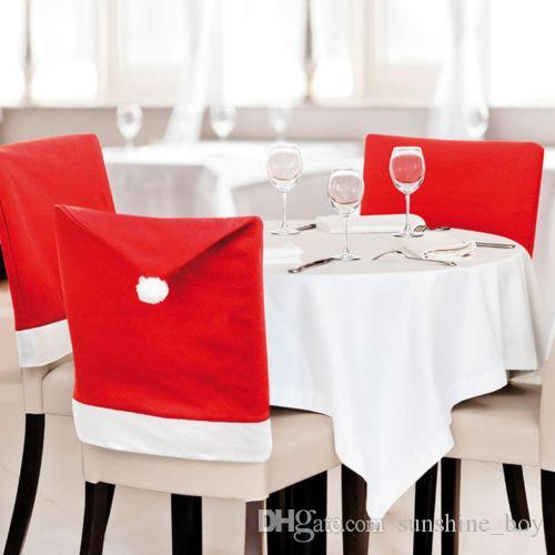 christmas Chair Covers Santa Clause Red Hat for Dinner Decor Home Decorations Ornaments Supplies Dinner Table Party Decor