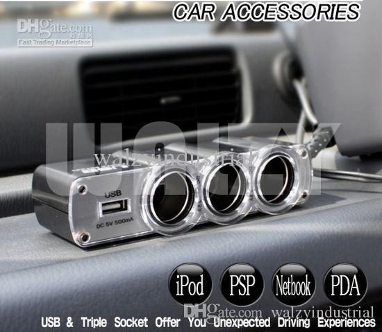 Wholesale Auto Outlet >> Triple Socket 12/24 Volt DC Car Adapter Power Outlet W/USB ...