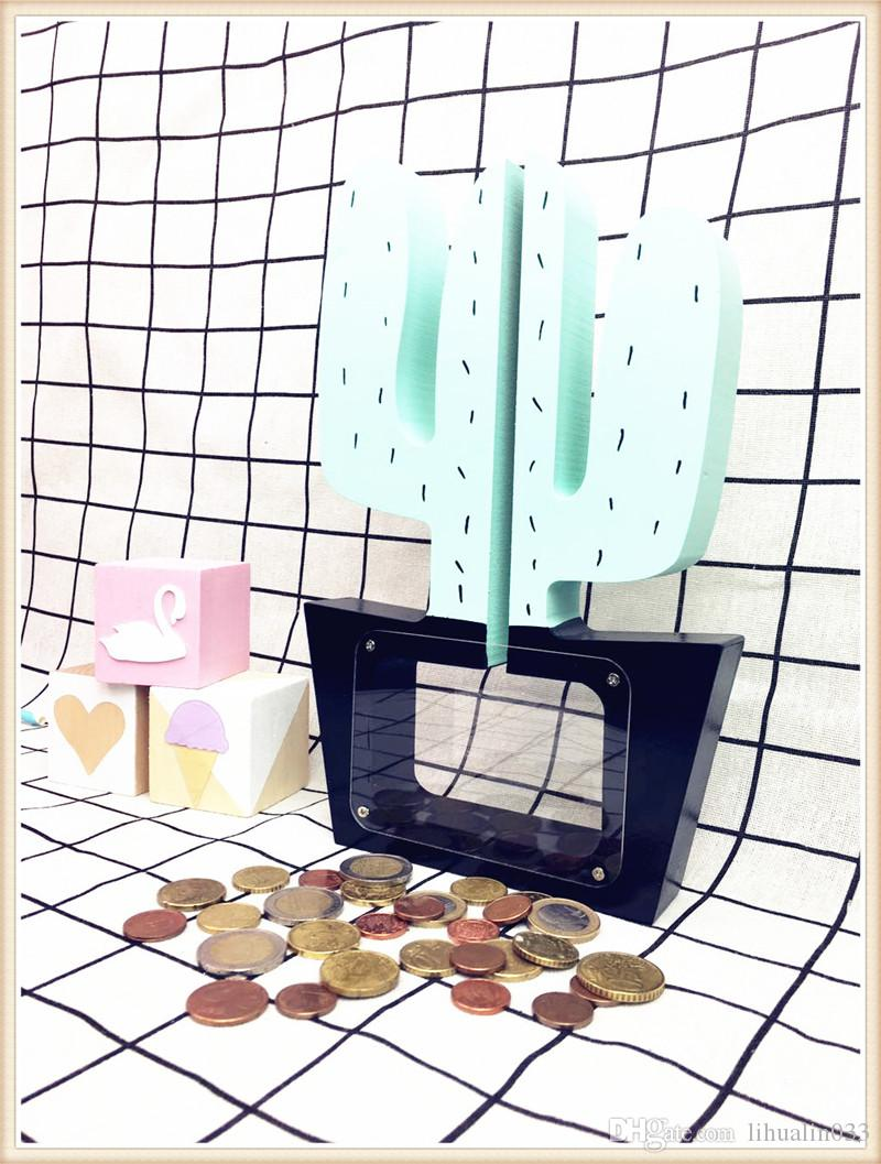 Nordic Wooden Decoration Crafts Cactus Kids Money Box Children Room Decor Coin Box Figurines/Miniatures Photography Props Gift