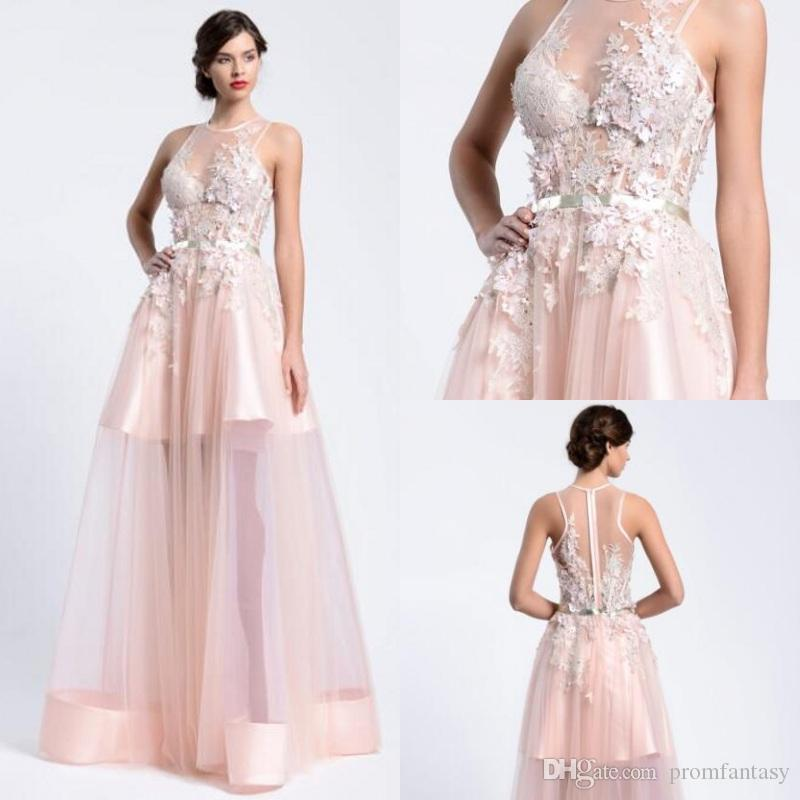 Pink Long High Low Prom Dresses Sheer Crew Neck Lace Appliques ...
