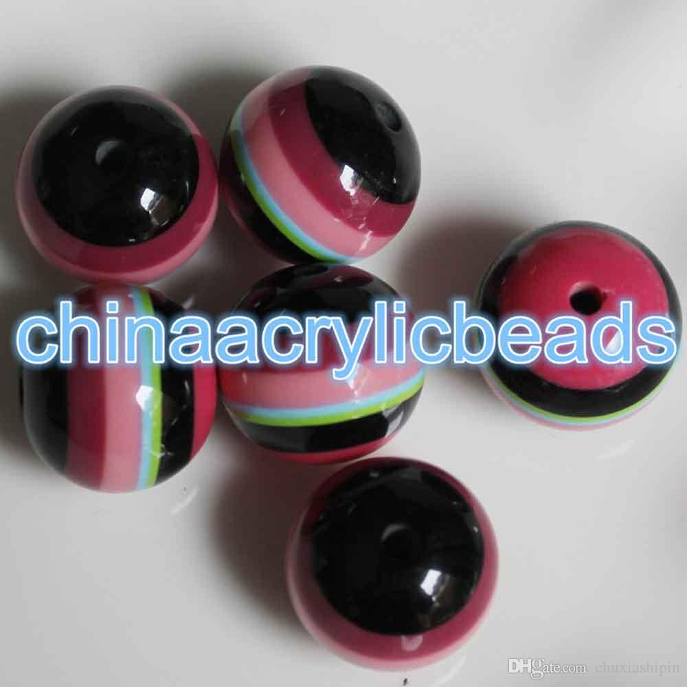 20MM Resin Round Rainbow Striped Beads Stripe Gumball Beads Bubble Gum Beads Charms For Jewelry Making
