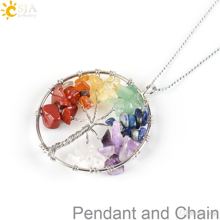 CSJA Wisdom Tree of Life Reiki Chakra Natural Stone Beads Pendant Necklace Rainbow Round Women Men Yoga Jewelry E152