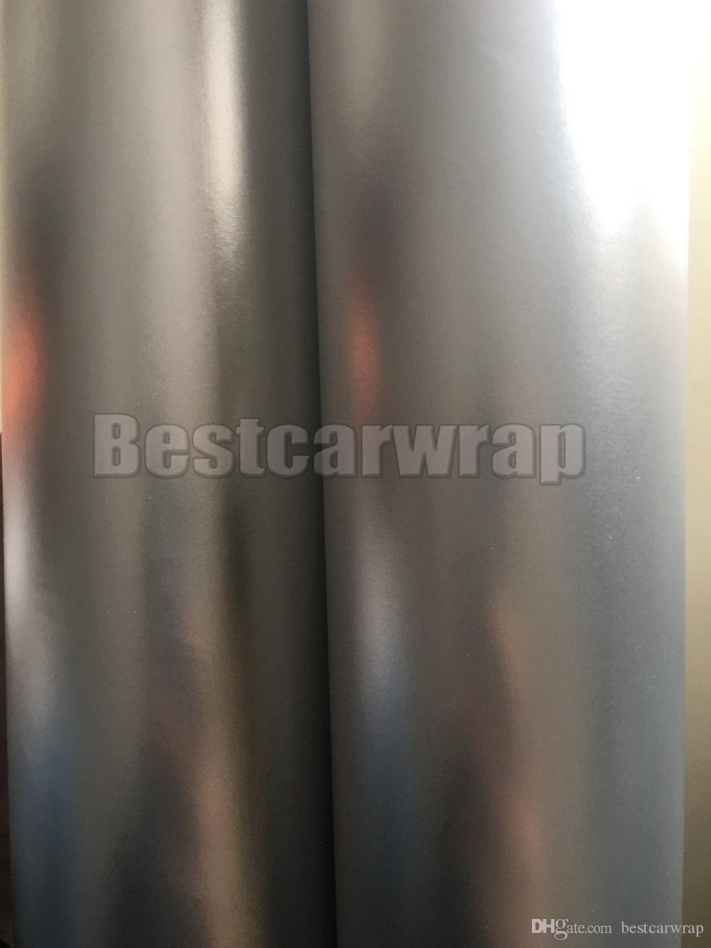 2017 Silver Satin Chrome Vinyl Vehicle Decal Car Wrap Film With Air Bubble Free Car Wrapping Matt Chrome Sticker Film 1.52x20m/Roll