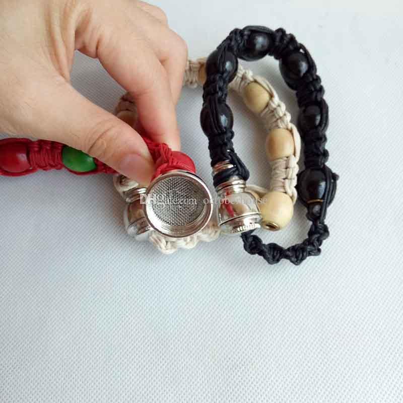 Handmade stash bracelet smoking pipe Metal tobacco herb incognito Hand Cigarette Pipes sneak a toke click n vape discreet