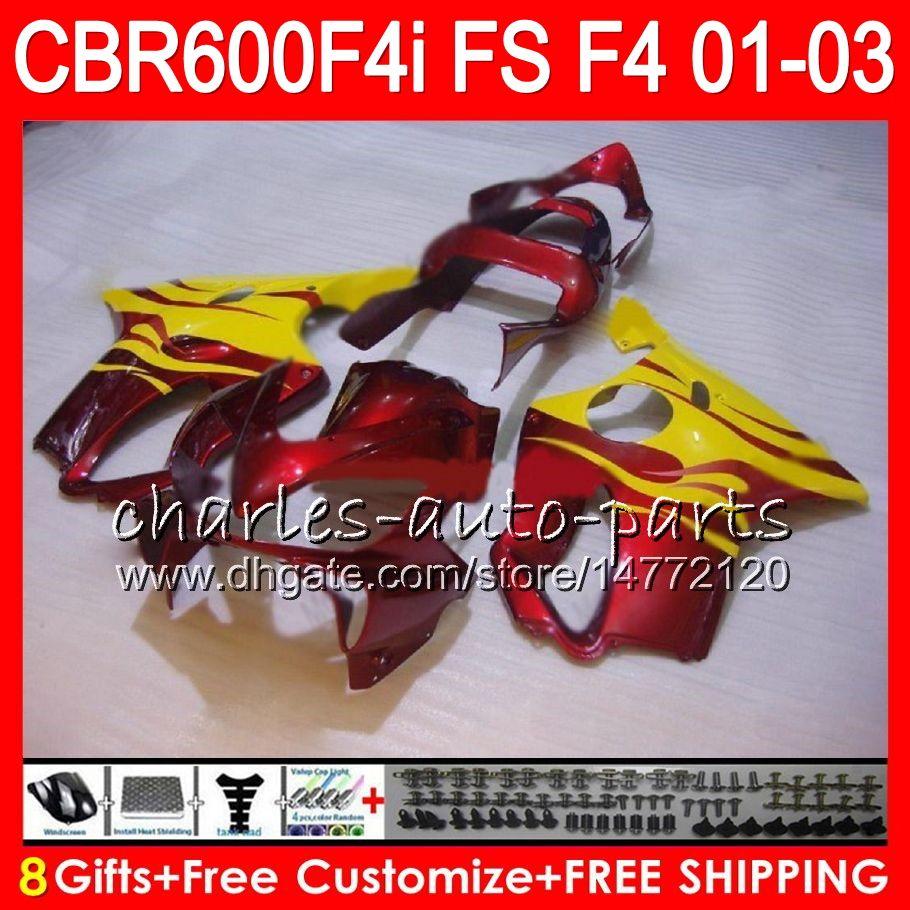 8Gifts For HONDA CBR 600 F4i 01-03 CBR600FS FS 28NO34 yellow flames CBR600 F4i 2001 2002 2003 CBR 600F4i CBR600F4i 01 02 03 Fairing