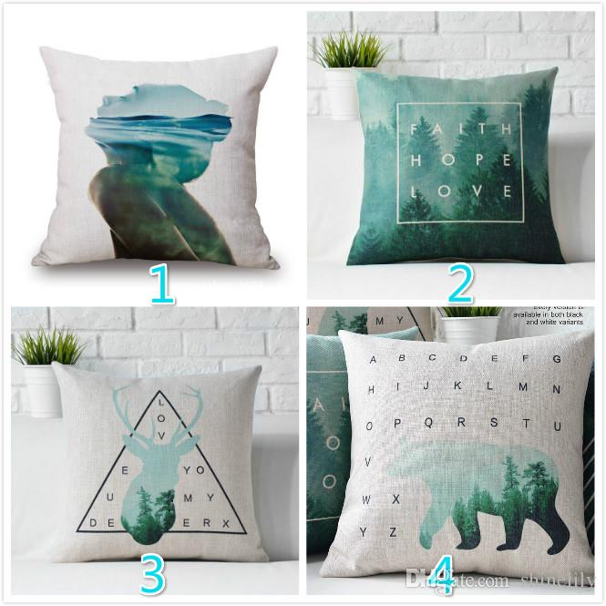 Bear Pillow,Geometric Deer Pillow Cover,Chair Seat Cushion Cover ...