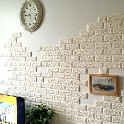 Adhesive Wall Paper white 3d bricks self adhesive wall sticker soft foam panels