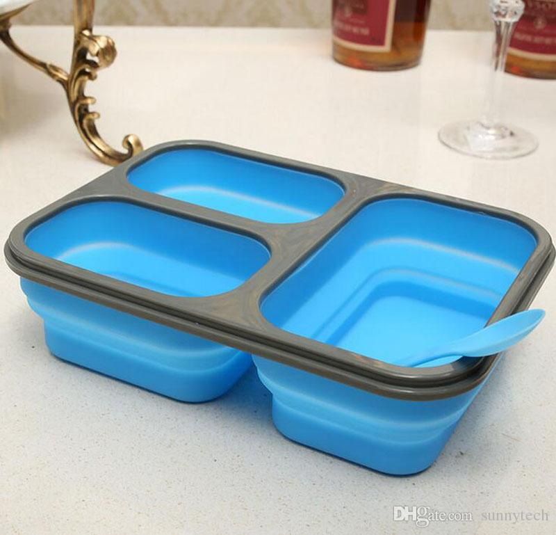 1100ml Silicone Collapsible Portable Lunch Box Bowl Bento Boxes Folding Food Storage Container Lunchbox Eco-Friendly ZA2240