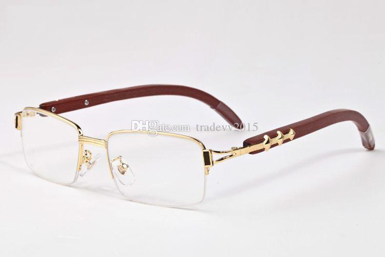 Nouvelle marque semi-cerclées Hommes lunettes métal or argent bambou bois Vintage cadre optique marque lunettes de soleil de corne de buffle design femme avec boîte