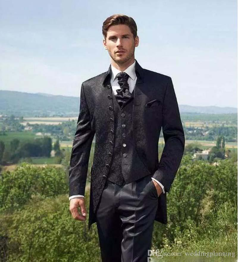 Custom Made Black Groom Tuxedos Groomsmen Men Wedding Tuxedos Dinner Wedding Formal Prom Suits Jacket+Pants+Vest+Tie