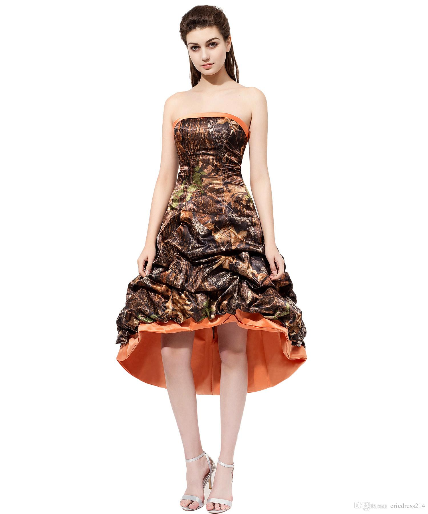 2017 High Low Camo Bridesmaid Dresses With Satin Edge Strapless Draped Maid Of Honor Dress Formal Prom Gowns Cheap Wedding Party Bridesmaids
