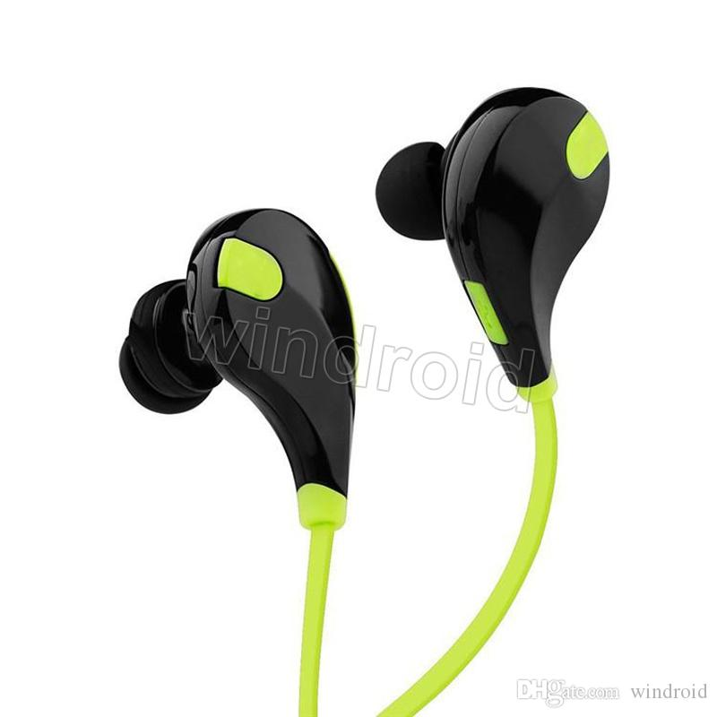 Günstige Tragbare Nackenbügel Noise Cancelling Stereo Headset Sport In Ohr Kopfhörer Ohrhörer Laufen QY7 drahtlose bluetooth 4,1 kopfhörer 100 stücke