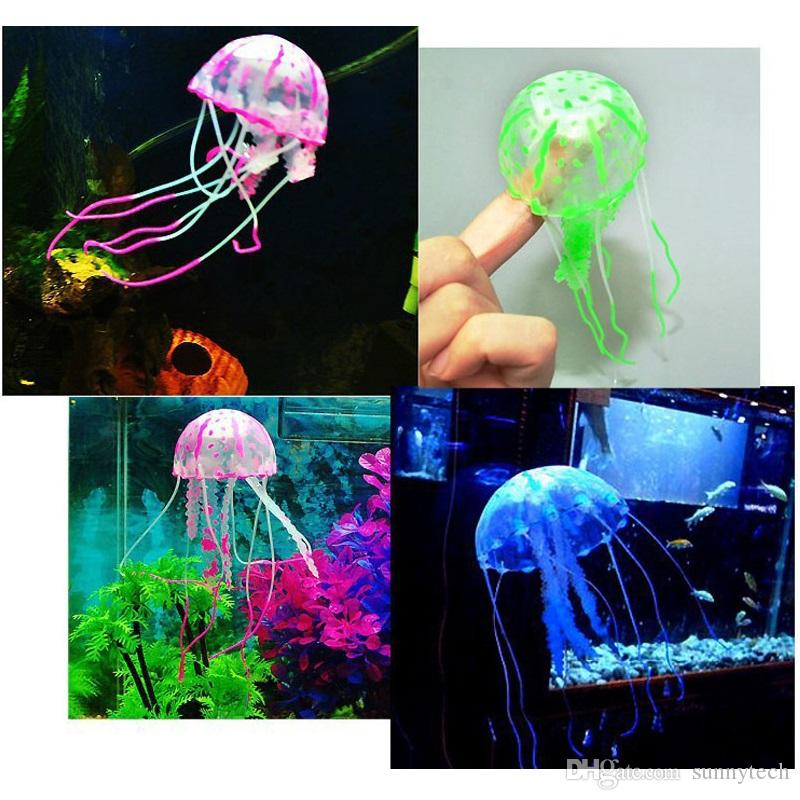 Luminous in night Jellyfish Glowing Effect Artificial Jellyfish Aquarium Fish Jar Tank Ornament Decor Swim Pool Decoration ZA2249