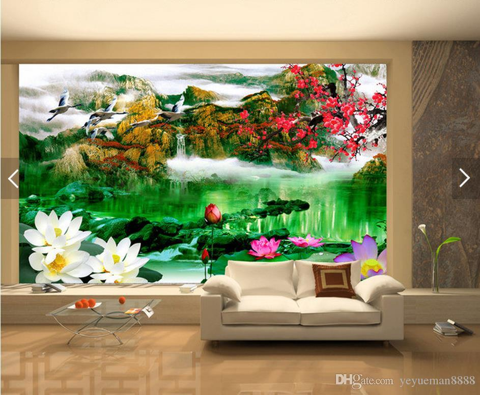 wall background wallpaper diamond Customized living room Water painting 3d landscape wallpaper muur behang 3d woonkamer