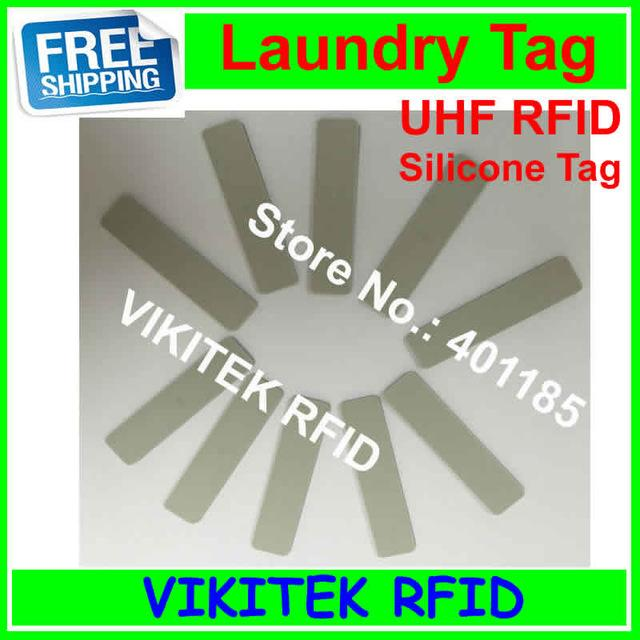 Wholesale- UHF RFID laundry tag 915MHZ 860-960MHZ Alien Higgs3 chip Silicone material 58x13x2mm 50 pcs can be washed and Ironing