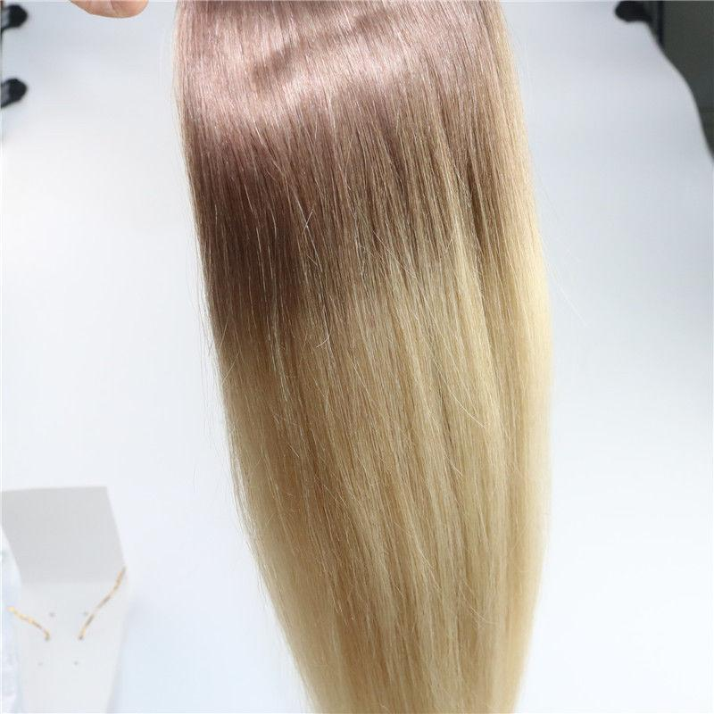 Ombre Indian Remy Clip en extensiones de cabello humano T6 / 613 Brown Blonde dos tonos Clip Virgin en extensiones de cabello 100g