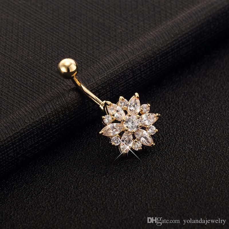 i l'opzione anti-allergica fiori carini anelli dell'anello del ventre CZ donne sexy gioielli corpo ciondola i monili penetranti del corpo dell'ombelico ballerini