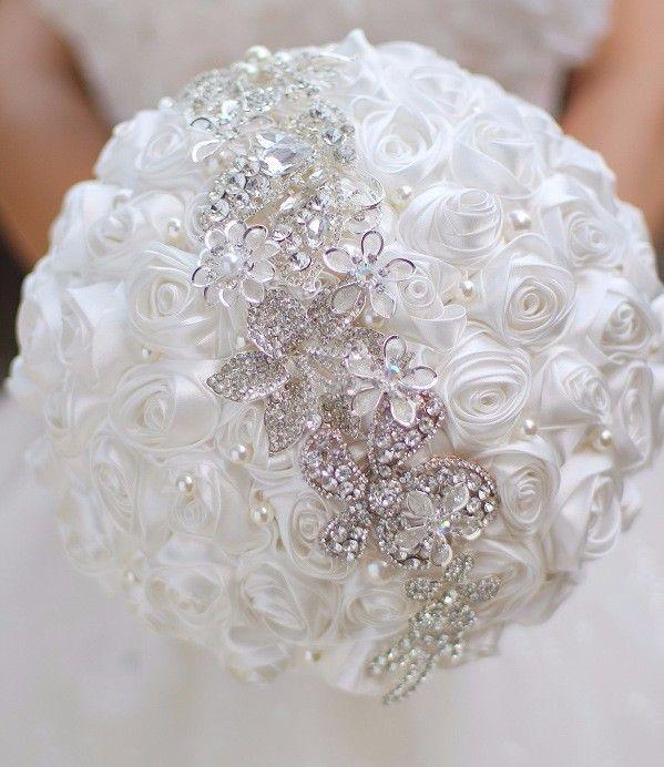 Beyaz / Fildişi / Kırmızı / Kraliyet Mavi Kristal Düğün Buketleri Düğün Çiçekleri Gelin Buketleri Düğün Dekorasyon Buket Mariage Stokta