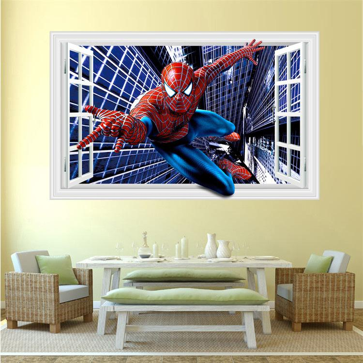 Fashion Creative Spider Man 3 D Wall Sticker Of Setting Of The Sitting Room  The Bedroom Wall Sticker Removable Wall Decals Nursery Removable Wall Decals  ...