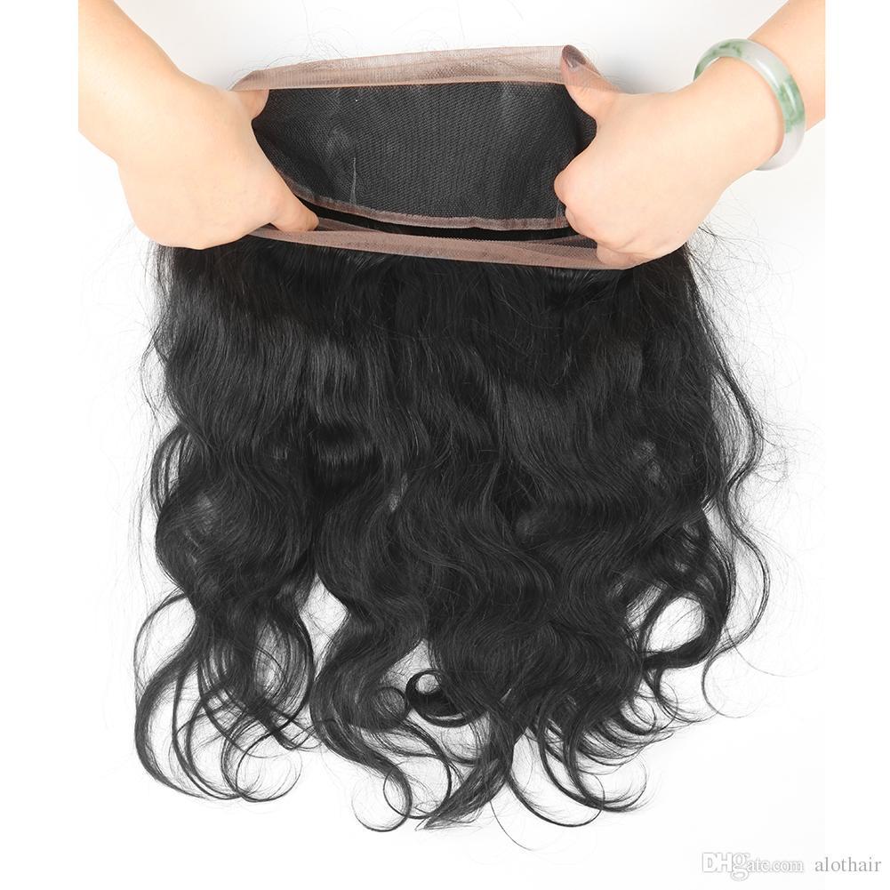 ALOT Cheveux 3 faisceaux avec 360 Dentelle Frontale Fermeture Vague de Corps Brésilien Vierge Produits de Cheveux Humains 3 Bundles avec 360 Dentelle Frontale Fermeture
