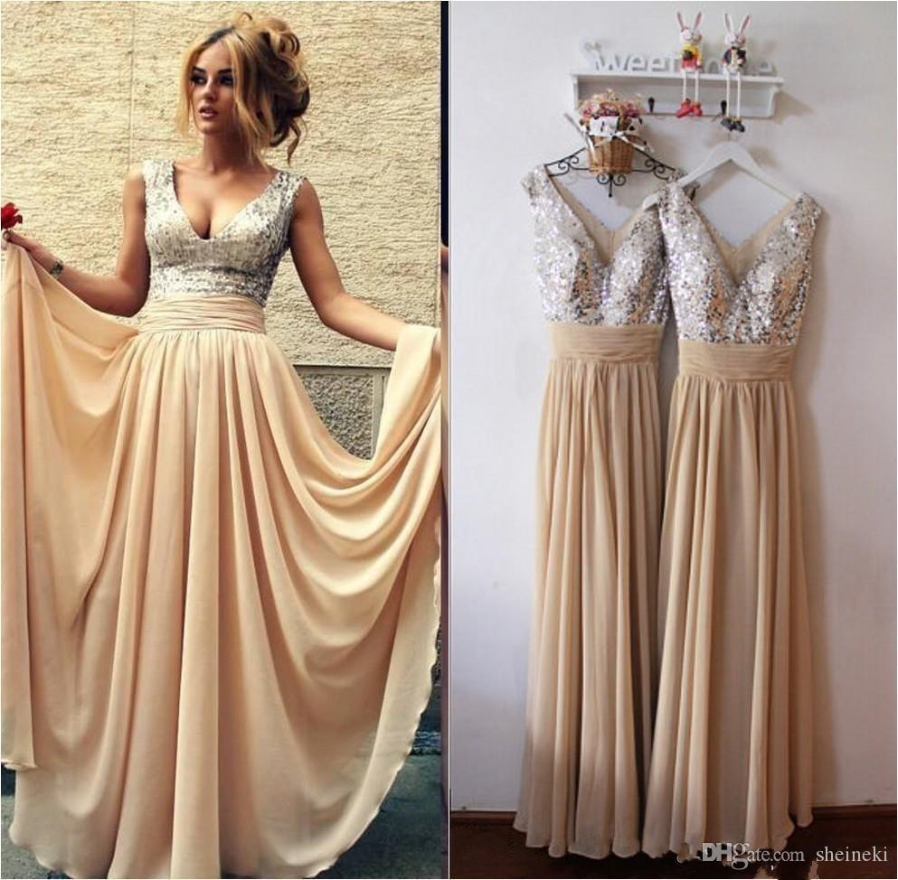 2017 Cheap Elegant Chiffon V Neck Sequins Long Mint Green Champagne Sleeveless Long Bridesmaid Gowns Wedding Party Gowns under 50
