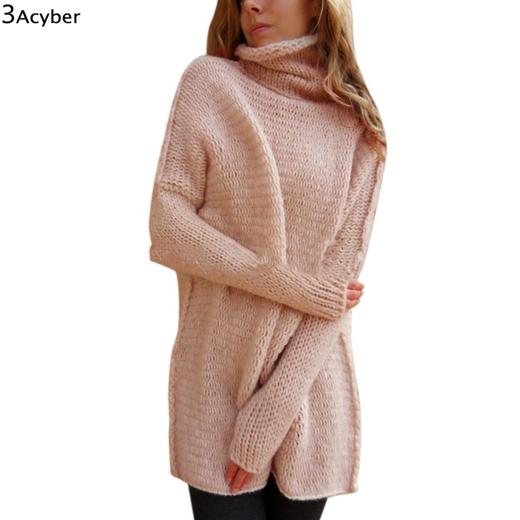 3038c74f00 2019 Wholesale Winter Sweater Women Christmas Long Sweaters Knitted Turtle  Neck Thick Warm Women Sweater And Pullovers Sweater Dress From Feiyancao